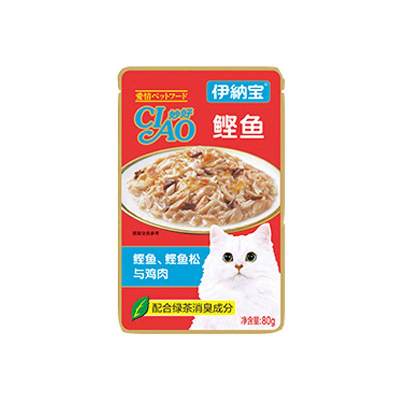 伊纳宝 妙好全价成年期猫湿粮猫零食亲心系列80g*12 鲣鱼+鲣鱼松+鸡肉