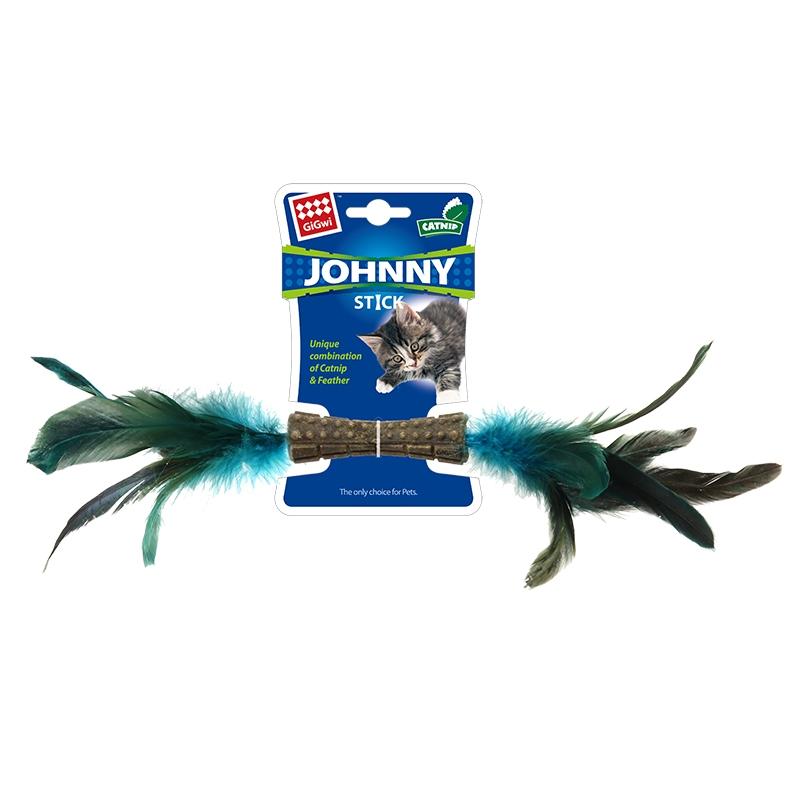 GiGwi贵为 猫玩具 双头羽毛小蛮腰猫草洁齿磨牙棒猫玩具羽毛逗猫棒 两头蓝鸡毛小蛮腰