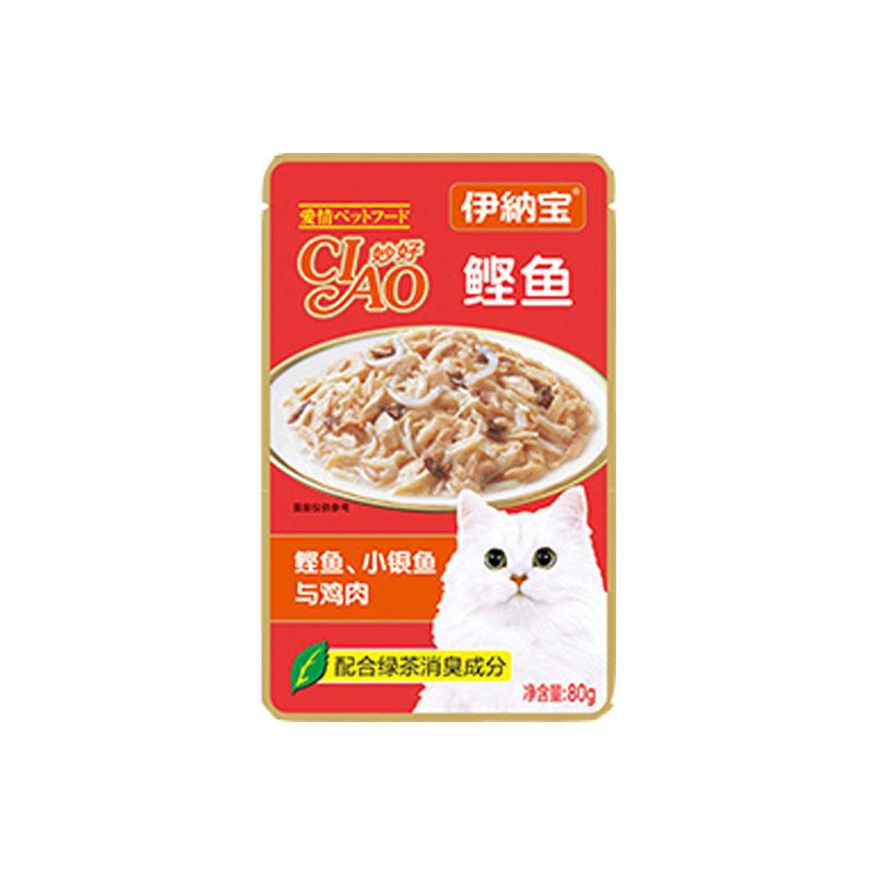 伊纳宝 妙好全价成年期猫湿粮猫零食亲心系列80g*12 鲣鱼+小银鱼+鸡肉