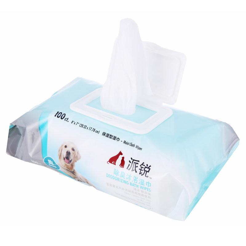 派锐 宠物用除臭沐浴湿巾 去味除臭出门携带方便卫生不刺激 100片