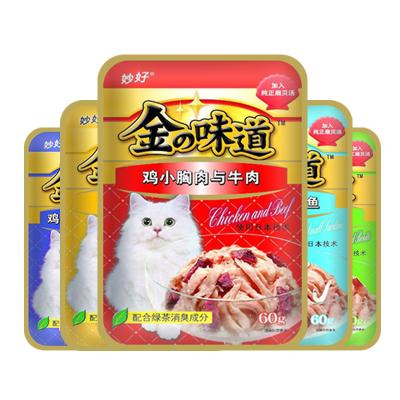 伊纳宝 妙好金味道猫湿粮 成猫粮 60g/包 鸡小胸肉与宗田鲣鱼