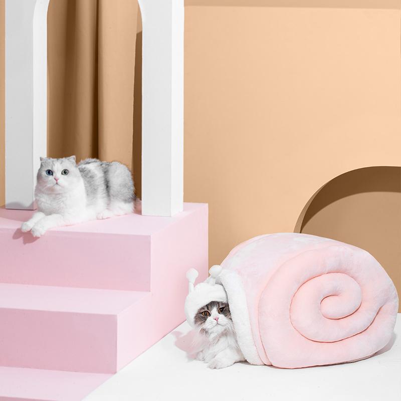 尾巴生活小蜗软猫窝-粉色 1个