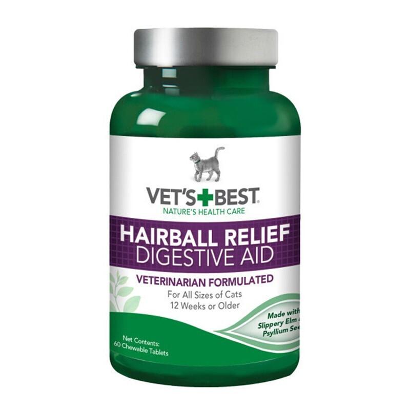 vet'best绿十字猫用化毛猫草片 肠胃调理 猫化毛去毛球片 60粒/瓶