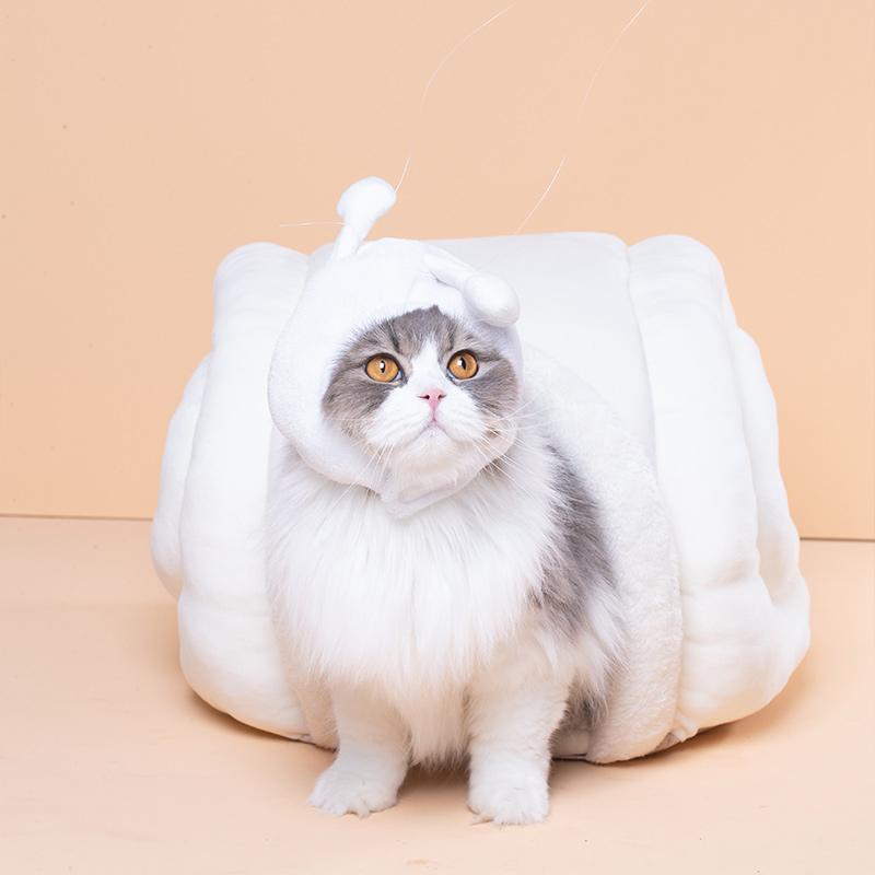 尾巴生活小蜗软猫窝-白色 1个